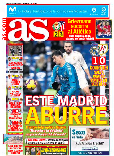 ラージョ戦翌日AS:Este Madrid aburre (このマドリードは退屈)