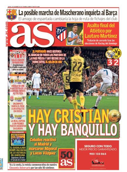 AS1面:Hay Cristiano y hay banquillo (クリスティアーノがいて、ベンチがいる)