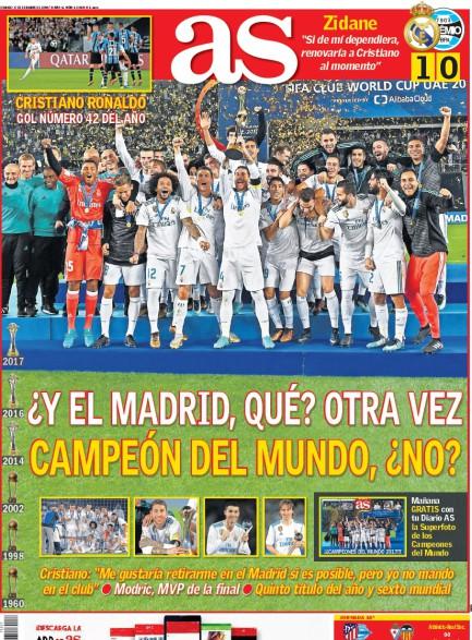 AS1面 ¿Y el Madrid, qué? otra vez campeón del mundo, no? ¿No? (え、マドリード? また世界王者になったんだって?)