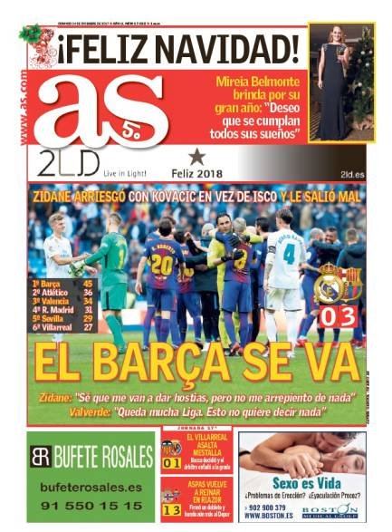 AS1面: El Barça se va (バルサいっちゃった)
