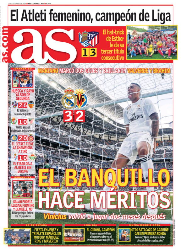 ビジャレアル戦翌日AS紙一面:El banquillo hace méritos(控え選手が手柄を立てる)