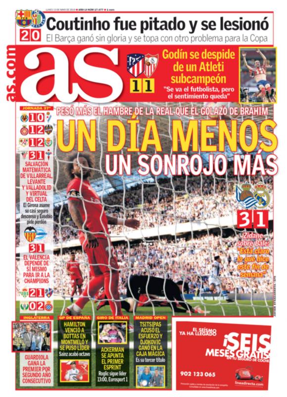 レアル・ソシエダ戦翌日AS紙一面:UN DÍA MENOS UN SONROJO MÁS(また赤っ恥の試合をやり、さらに1試合少なくなった)