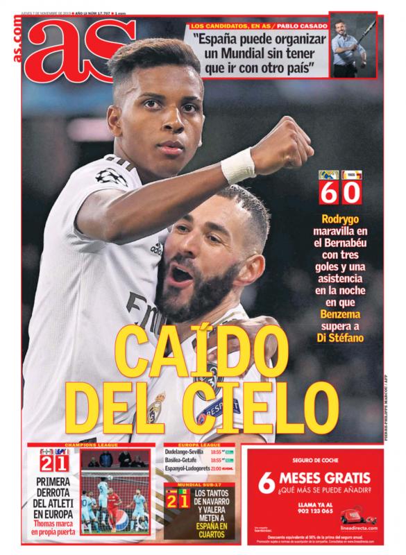 チャンピオンズリーグ・グループリーグ第4節ガラタサライ戦翌日AS紙一面:CAÍDO DEL CIELO(天から降ってきた)