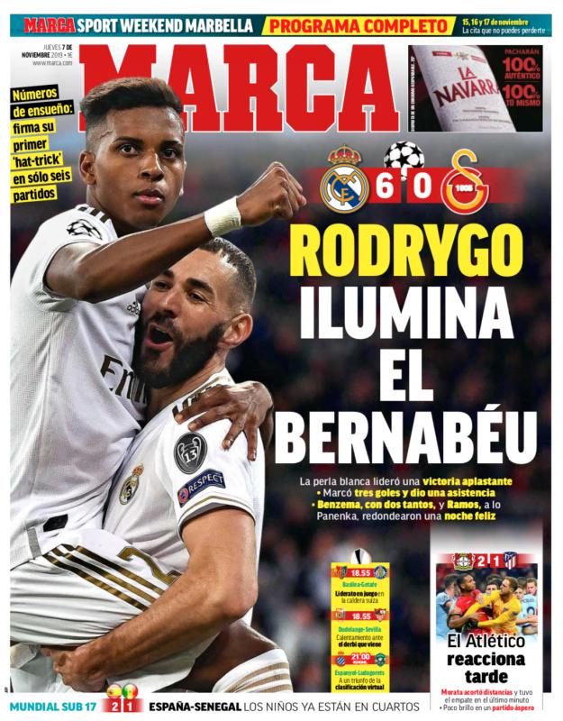 チャンピオンズリーグ・グループリーグ第4節ガラタサライ戦翌日MARCA紙一面:RODRYGO ILUMINA EL BERNABÉU(ロドリゴがベルナベウを照らす)