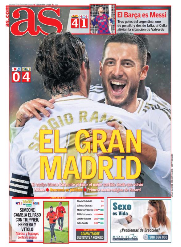 リーガ第13節エイバル戦翌日AS紙一面:EL GRAN MADRID(偉大なマドリー)