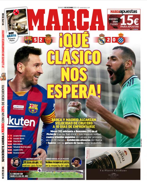 リーガ第16節エスパニョール戦翌日MARCA紙一面:¡QUÉ CLÁSICO NOS ESPERA!(すごいクラシコが我々を待つ!)