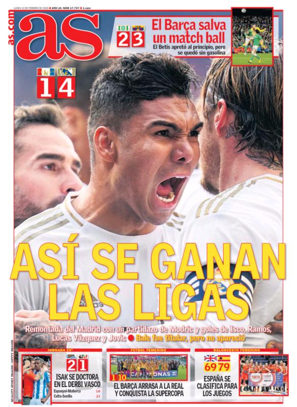 リーガ第23節オサスナ戦翌日AS紙一面:ASÍ SE GANAN LAS LIGAS(このようにリーガに優勝する)