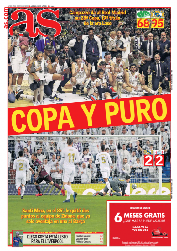 リーガ第24節セルタ戦翌日AS紙一面:COPA Y PURO(コパと罰 ※レアル・マドリードのバスケットチームの国王杯優勝とサッカーチームの引き分けを表現)
