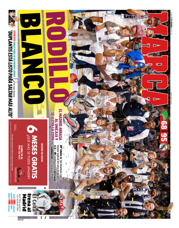 リーガ第24節セルタ戦翌日MARCA紙一面:El Celta frena al Madrid(セルタがマドリーをストップ)