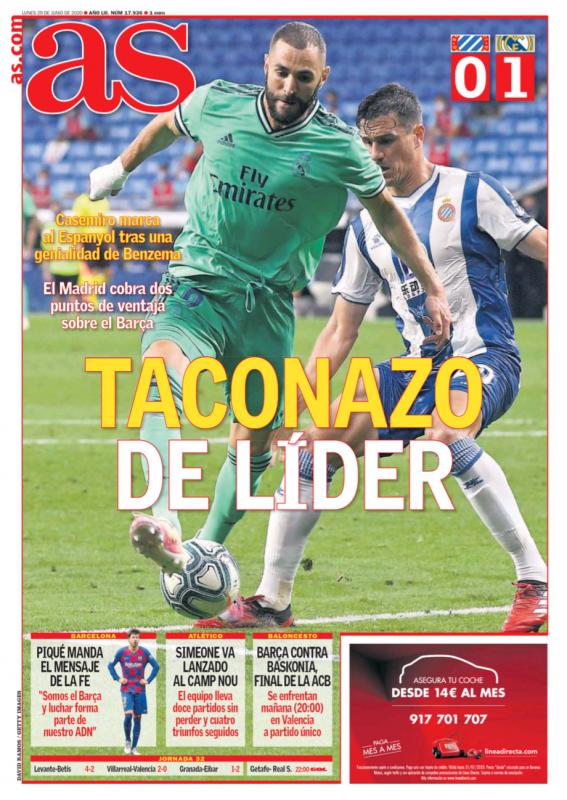 リーガ第32節エスパニョール戦翌日AS紙一面:TACONAZO DE LÍDER(リーダーのスーパーヒールパス)
