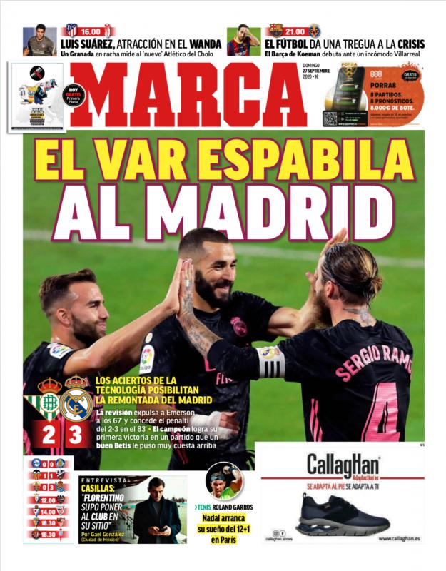 リーガ第3節ベティス戦翌日MARCA紙一面:EL VAR ESPABILA AL MADRD(VARがマドリーの目を覚まさせる)
