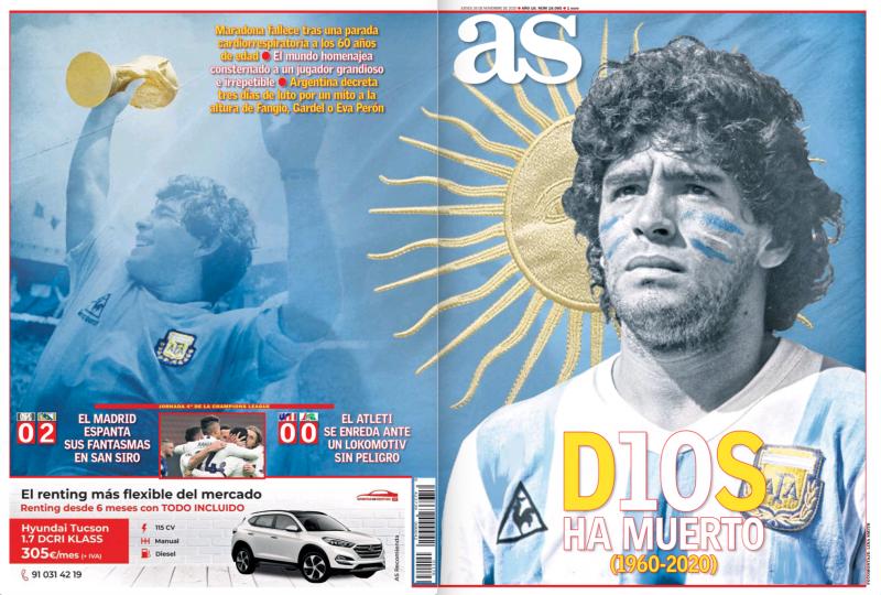 チャンピオンズリーグ・グループリーグ第4節インテル・ミラノ戦翌日AS紙一面:EL MADRID ESPANTA SUS FANTASMAS EN SAN SIRO(マドリーがサン・シーロで亡霊を追い払った)