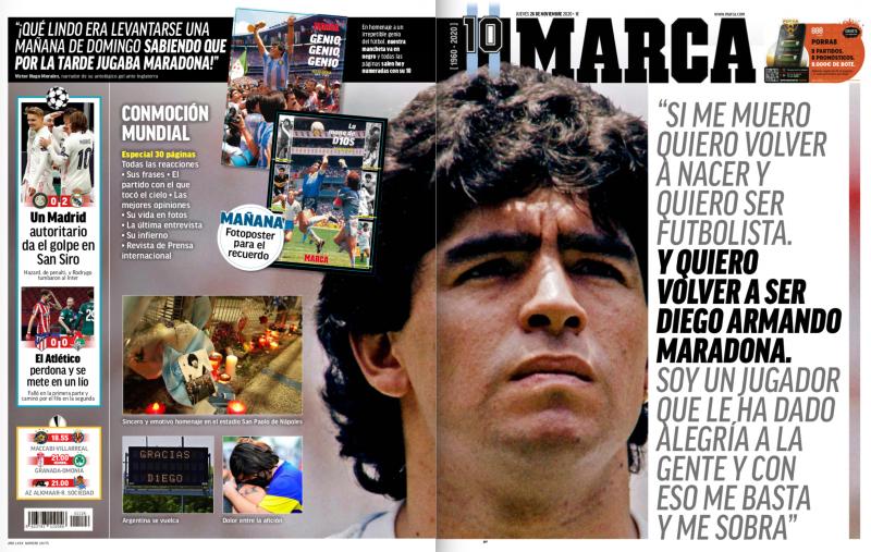 チャンピオンズリーグ・グループリーグ第4節インテル・ミラノ戦翌日MARCA紙一面:Un Madrid autoritario da el golpe en San Siro(権力を示したマドリーがサン・シーロで打撃を与えた)