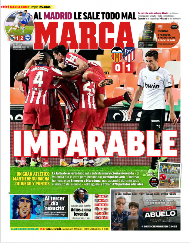 リーガ第11節アラベス戦翌日MARCA紙一面:AL MADRID LE SALE TODO MAL(マドリーは全てがうまくいかず)