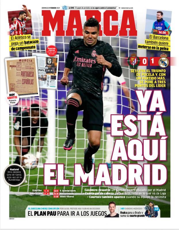 リーガ第24節バジャドリード戦翌日MARCA紙一面:YA ESTÁ AQUÍ EL MADRID(マドリーはもうここにいる)