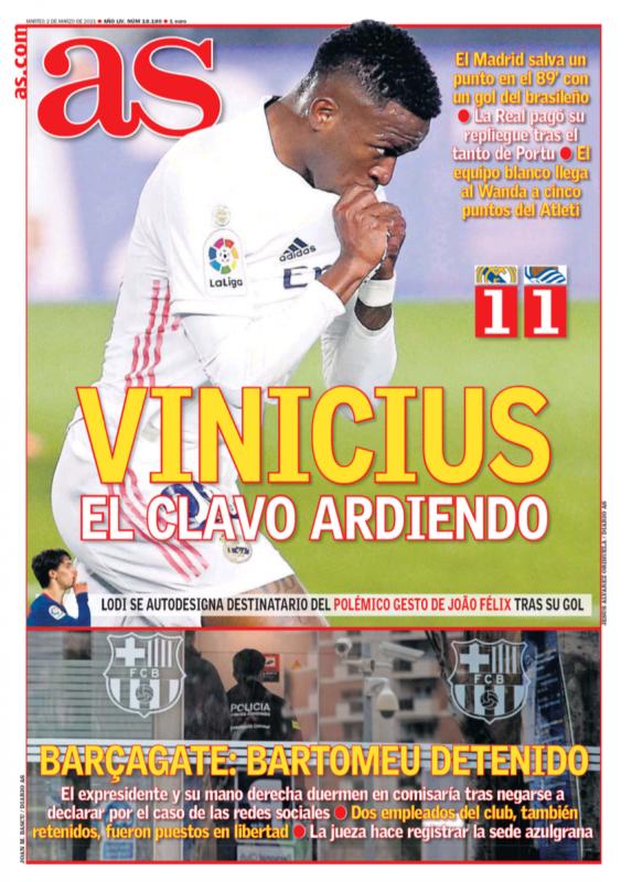 リーガ第25節レアル・ソシエダ戦翌日AS紙一面:VINICIUS EL CLAVO ARDIENDO(ヴィニシウス、チームを困難から救出)