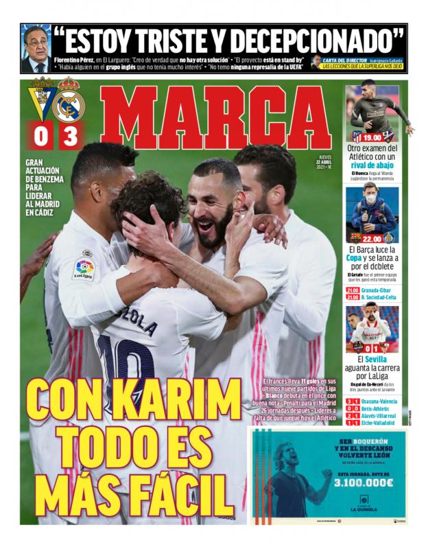 リーガ第31節カディス戦翌日MARCA紙一面:CON KARIM TODO ES MÁS FÁCIL(カリムを擁し全てがより簡単に)