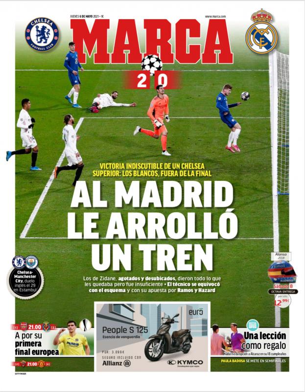 チャンピオンズリーグ準決勝第2戦チェルシー戦翌日MARCA紙一面:AL MADRID LE ARROLLÓ UN TREN(列車がマドリーを押し潰した)