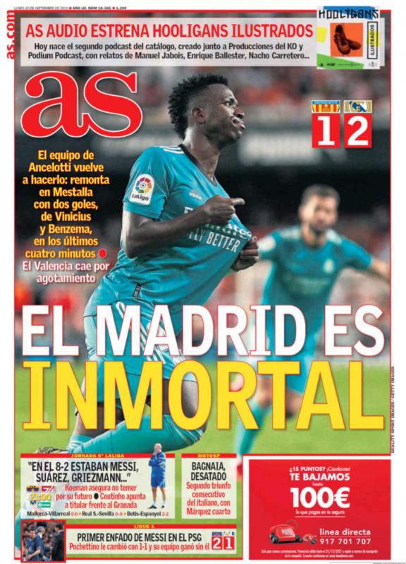リーガ第5節バレンシア戦翌日AS紙一面:EL MADRID ES INMORTAL(不滅のマドリー)