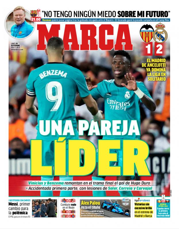 リーガ第5節バレンシア戦翌日MARCA紙一面:UNA PAREJA LÍDER(首位のコンビ)
