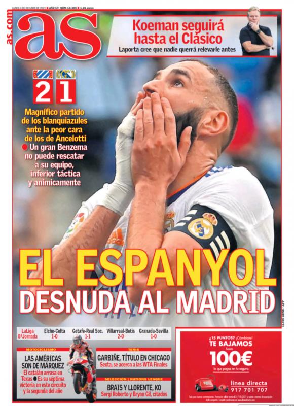 リーガ第8節エスパニョール戦翌日AS紙一面:EL ESPANYOL DESNUDA AL MADRID(エスパニョールがマドリーを丸裸に)