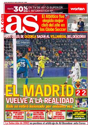ビジャレアル戦翌日紙面AS: El Madrid vuelve a la realidad (マドリード現実に戻る)