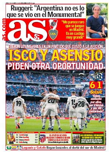 メリージャ戦翌日紙面AS:Isco y Asencio piden otra oportunidad(イスコ、アセンシオ新たなチャンスを求める)