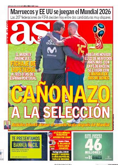 AS一面:Cañonazo a la selección (代表に大きな一撃)