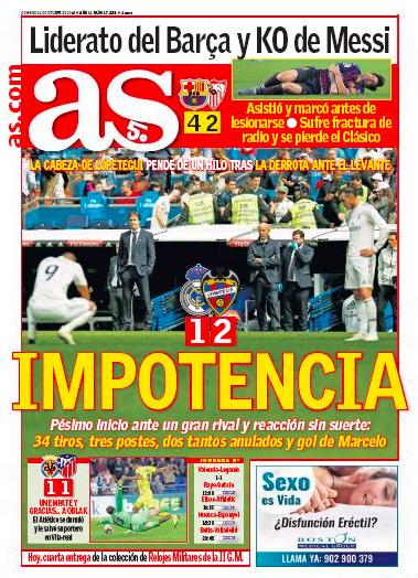 レバンテ戦翌日AS:Impotencia(インポテンツ:無能)