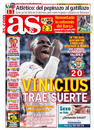 バジャドリード戦翌日紙面:AS、Vinícius trae suerte  (ヴィニシウス、幸運をもたらす)