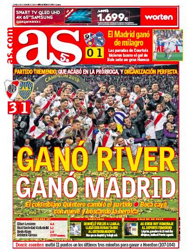 ウエスカ戦翌日AS:El Madrid ganó de milagro (マドリード、奇跡的に勝利)