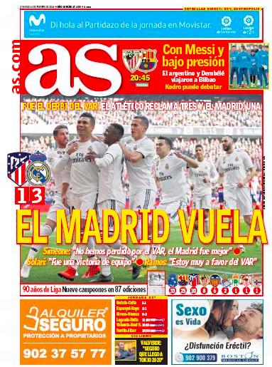 ダービー翌日紙面AS:El Madrid vuela (マドリード、飛ぶ)