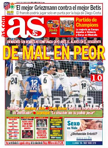 アラベス戦翌日紙面AS: De mal en peor(悪い状態から最悪な状態に)