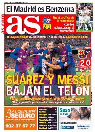 エイバル戦翌日紙面AS:El Madrid es Benzema (マドリードはベンゼマ)