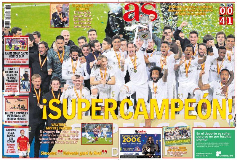 スーペルコパ決勝アトレティコ戦翌日as紙一面:¡SUPERCAMPEÓN!(スーパーチャンピオン)