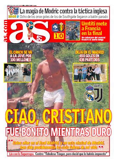 AS一面:Ciao Cristiano fue bonito mientras duró (チャオ、クリスティアーノ、続いている間素晴らしかった)