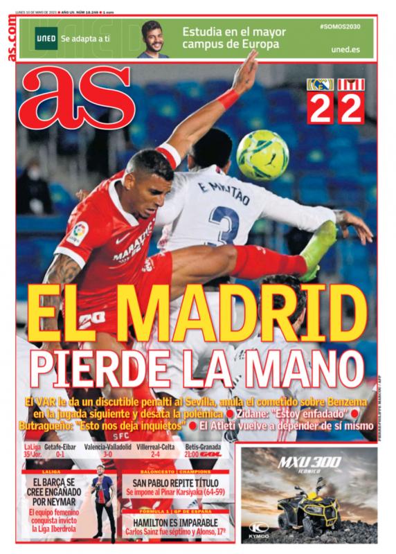 リーガ第35節セビージャ戦翌日AS紙一面:EL MADRID PIERDE LA MANO(自力優勝の可能性を失うマドリー)