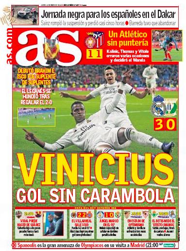 レガネス戦翌日AS:Vinicius gol sin carambola(余計なことのないビニシウスのゴール)