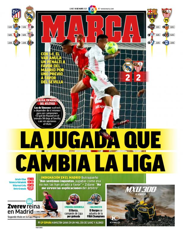 リーガ第35節セビージャ戦翌日MARCA紙一面:LA JUGADA QUE CAMBIA LA LIGA(リーガ優勝を左右するプレー)