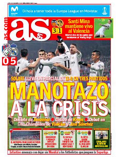 ヴィクトリア・プルゼニ戦翌日紙面AS:MANOTAZO A LA CRISIS(危機に平手打ち:5得点)