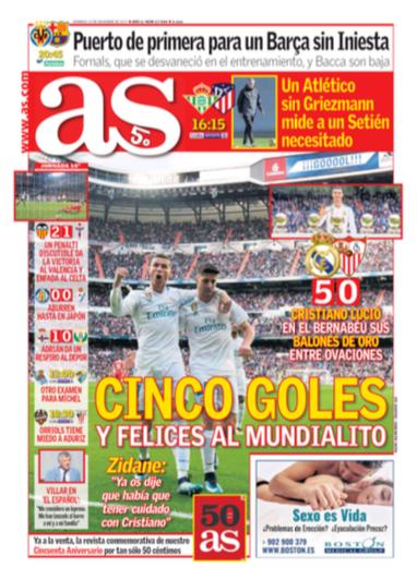 AS1面 Cinco goles y felices al mundialito (5得点とクラブW杯に向け上々)