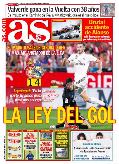 AS紙面:La ley del gol (ゴールの法則)