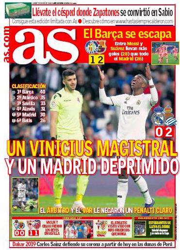 レアル・ソシエダ戦翌日AS:Un Vinicius magistral y un Madrid deprimido(見事なヴィニシウスと意気消沈のマドリード)
