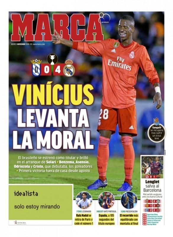メリージャ戦翌日MARCA:Vinícius levanta la moral (ヴィニシウス、モラルを上げる)