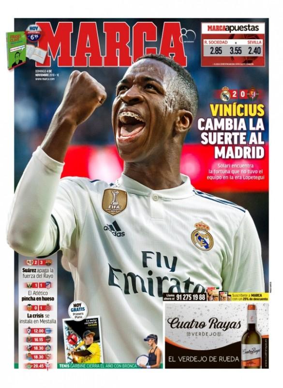 バジャドリード戦翌日紙面:MARCA、Vinícius cambia la suerte al Madrid (ヴィニシウス、マドリードの運を変える)