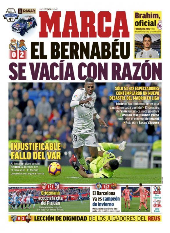 レアル・ソシエダ戦翌日MARCA:El Bernabéu se vacía con corazón (ベルナベウ心が空っぽに)