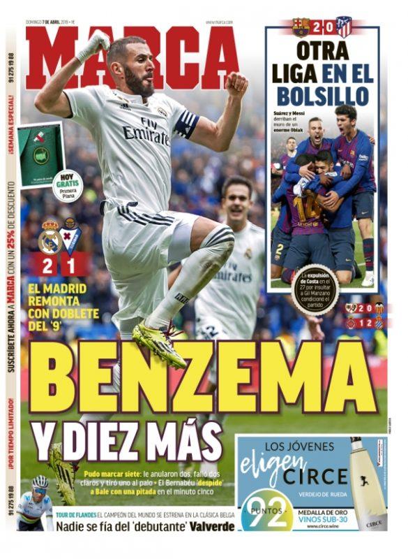 エイバル戦翌日紙面MARCA: Benzema y diez más(ベンゼマと10人)