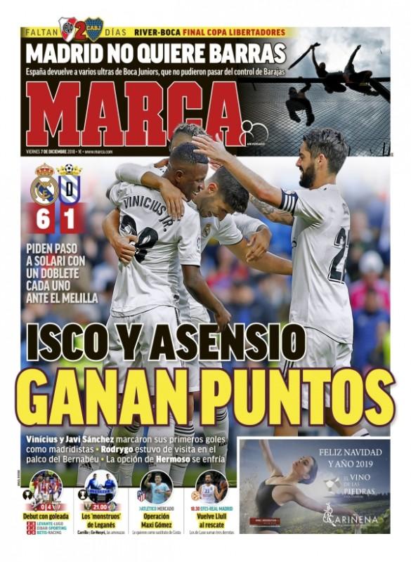 メリージャ戦翌日紙面MARCA:Isco y Asencio ganan puntos (イスコとアセンシオ、ポイント獲得)