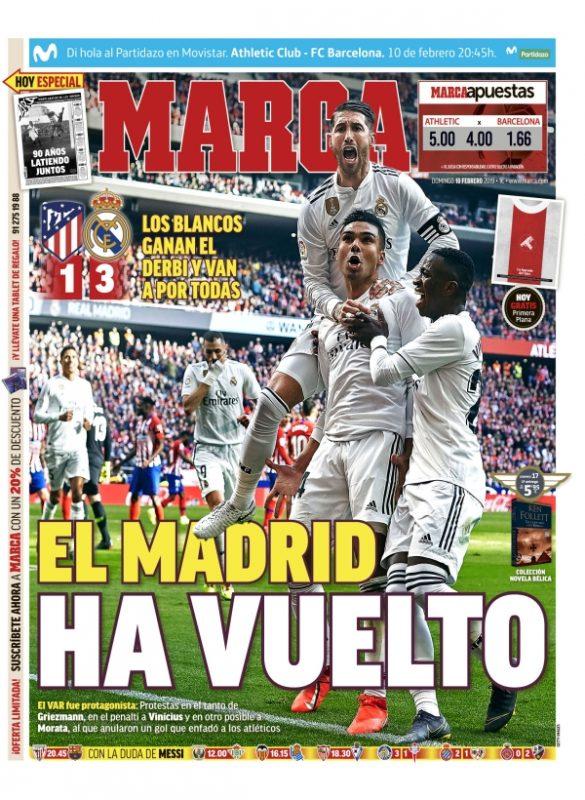 ダービー翌日紙面MARCA:El Madrid ha vuelto(マドリードが帰ってきた)