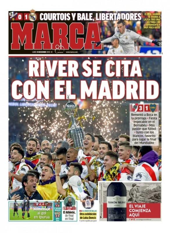 ウエスカ戦翌日MARCA:Courtois y Bale, Libertadores(クルトゥワとベイル、リベルタドーレス杯)